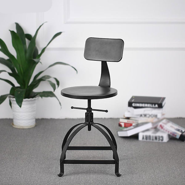Bar stool industrial style metal adjustable height swivel with backrest furniture