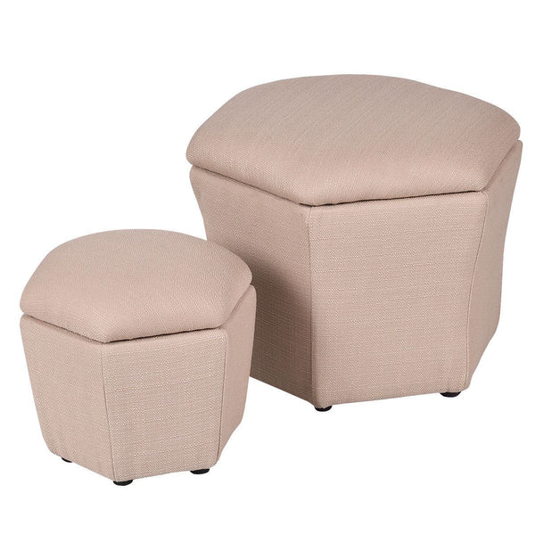 Ottoman living room storage box set of 2 seat footstool rest bench modern organizer