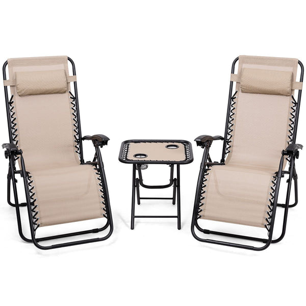 Lounge chairs 3pc zero gravity reclining pillows table portable folding picnic camping set outdoor furniture