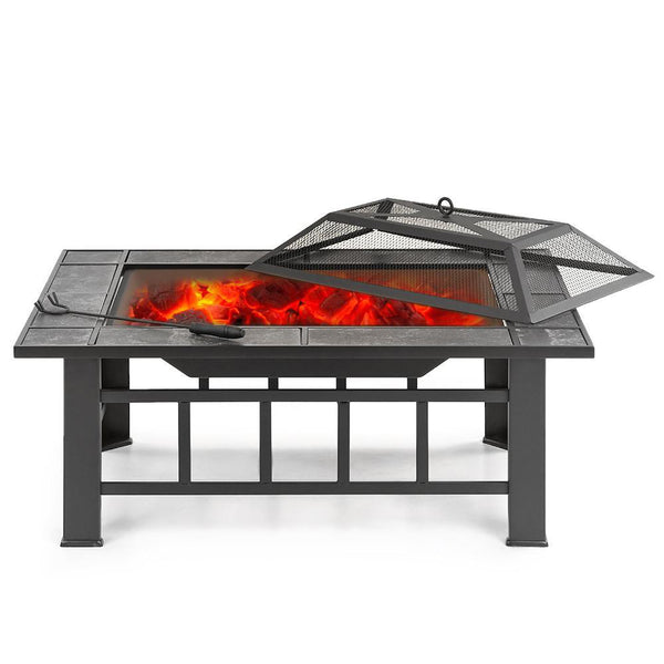 Metal fire pit outdoor fireplace garden backyard patio rectangular stove brazier w/ cover poker bbq grill