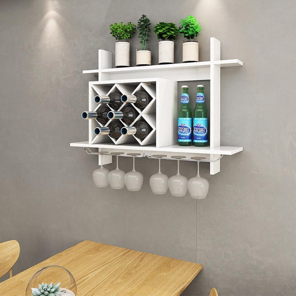 Wine rack wall mount w/ glass holder & storage shelf organizer home decor modern kitchen furniture
