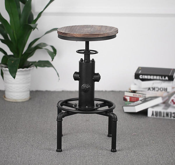 Bar stool metal industrial height adjustable swivel pinewood top kitchen dining chair pipe style w/ footrest