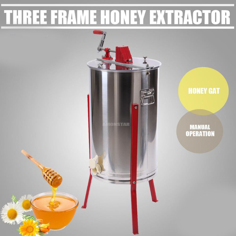 Bee honey extractor 3 frame stainless steel manual  honeycomb drum garden
