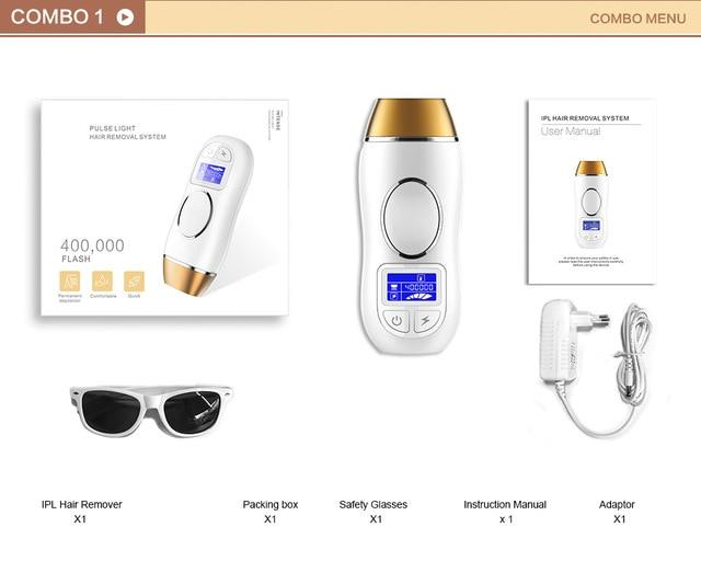 Laser hair removal machine 3 in 1 ipl painless epilator permanent bikini 5 levels electric depilador a laser