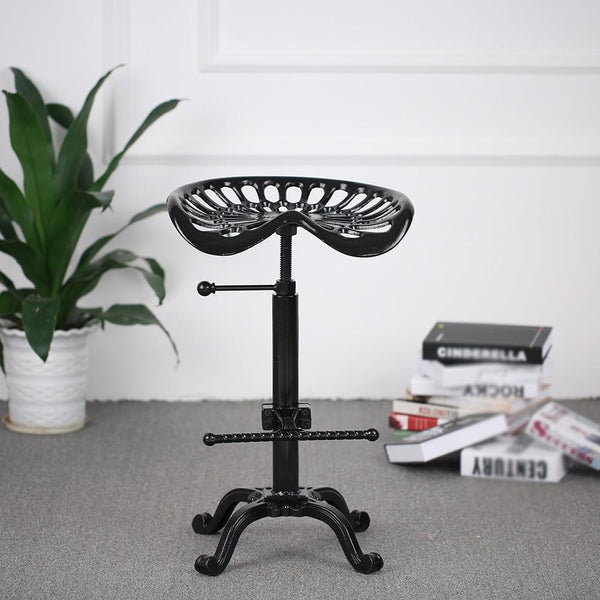 Bar stool industrial style cast iron tractor seat adjustable height swivel metal barstool chair