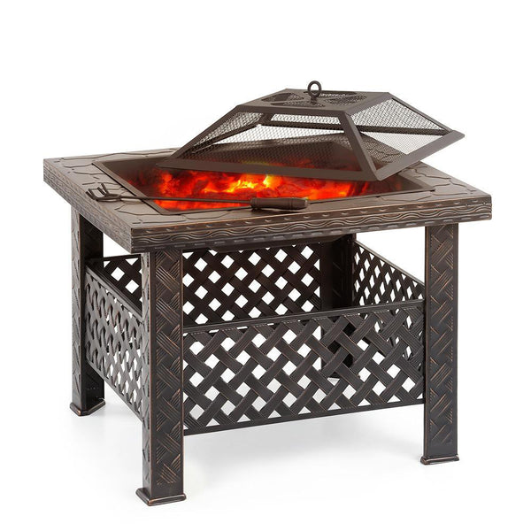 Metal fire pit garden backyard patio square stove brazier outdoor fireplace w/ cover poker bbq grill
