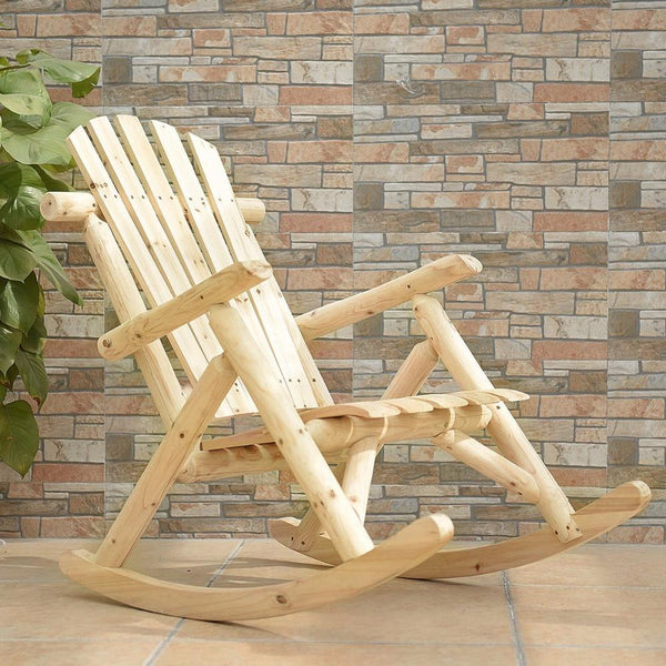 Rocking chair log wood single porch rocker lounge patio deck furniture natural garden