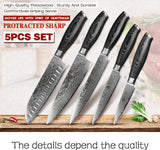 Kitchen knives set 5pcs japanese vg10 damascus steel cook pakkawood handle chef cleaver santoku paring