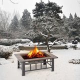 Metal fire pit garden backyard patio rectangular stove brazier outdoor fireplace w/ cover poker bbq grill