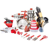 Cookware set 80 pcs cooking pots pans set utensils shovel soup spoon stainless steel nylon material kitchen tools