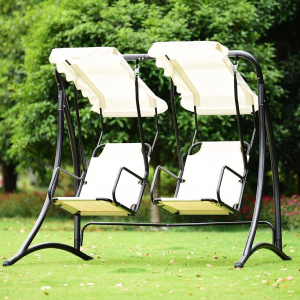 Porch swing 2 person hammock patio outdoor hanging loveseat canopy glider furniture