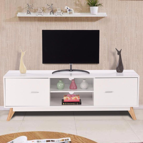 TV stand modern entertainment center console cabinet 2 doors shelves wood living room furniture