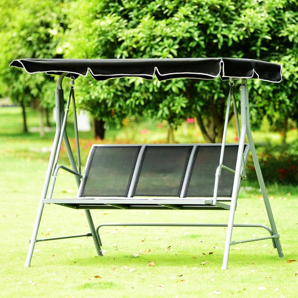 Swing chair 3 person patio deck bench canopy outdoor sling powder finish furniture