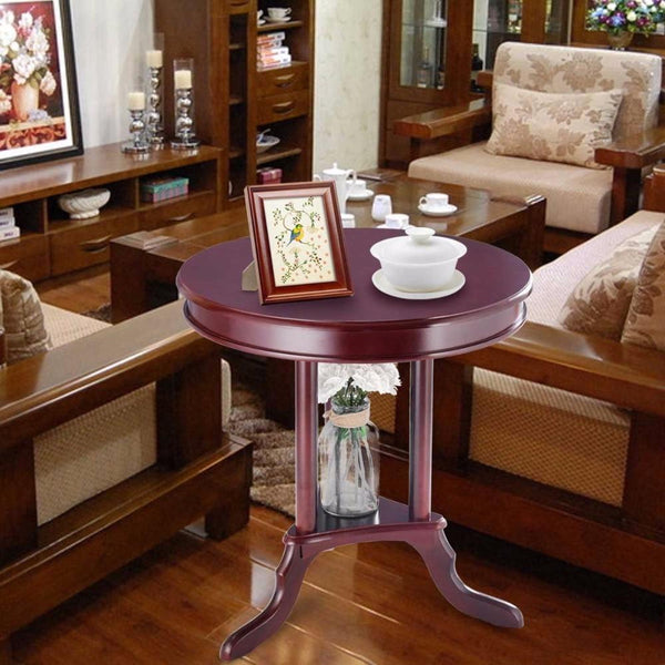 Round end table side home furnishing accent shelf mahogany living room furniture