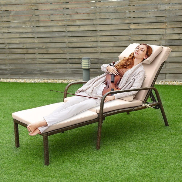 Pull out chair chaise lounge rattan wicker porch patio height adjustable cushion outdoor furniture