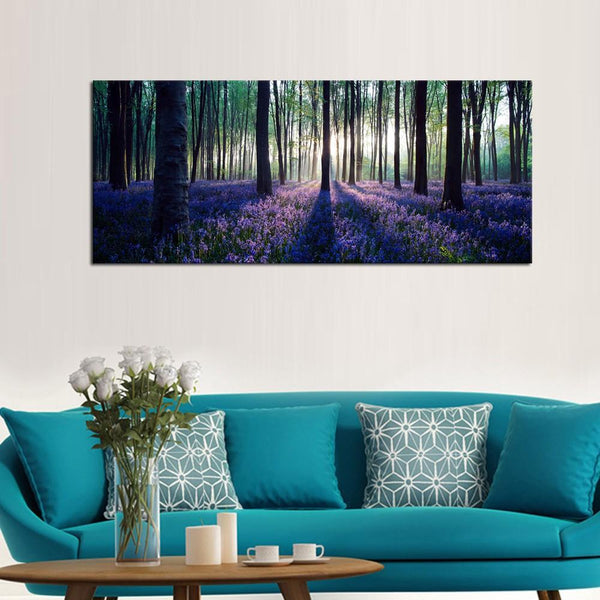 Large size canvas wall art with frame lavender forest mild sunshine landscape prints framed decor