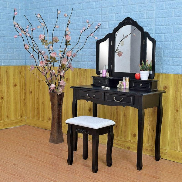 Wooden dressing table makeup desk with stool tri-fold mirror 5 drawers bedroom furniture drop