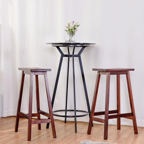 "Bar stools saddle seat 29"""" set of 2 wood bistro dining kitchen pub chair walnut living room furniture"