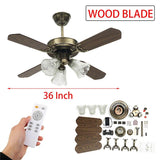 LED ceiling fan e27 bulb 36 inch for living room fans with lights cooling remote lamp ac110-240v