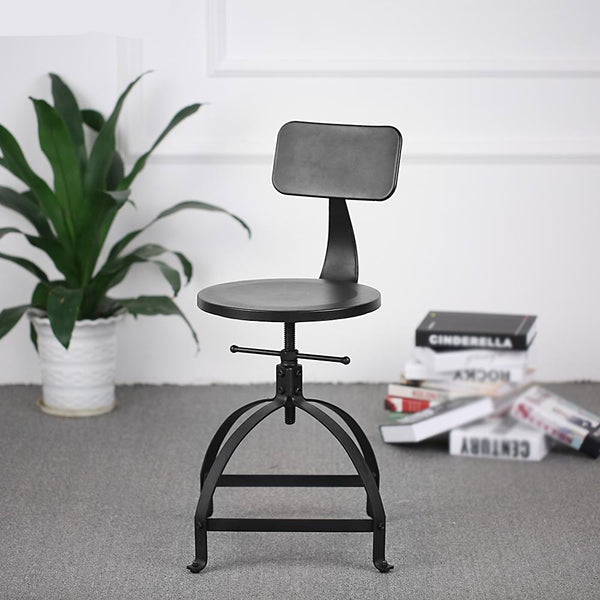 Bar stool industrial style metal adjustable height swivel kitchen dining chair w/ backrest furniture