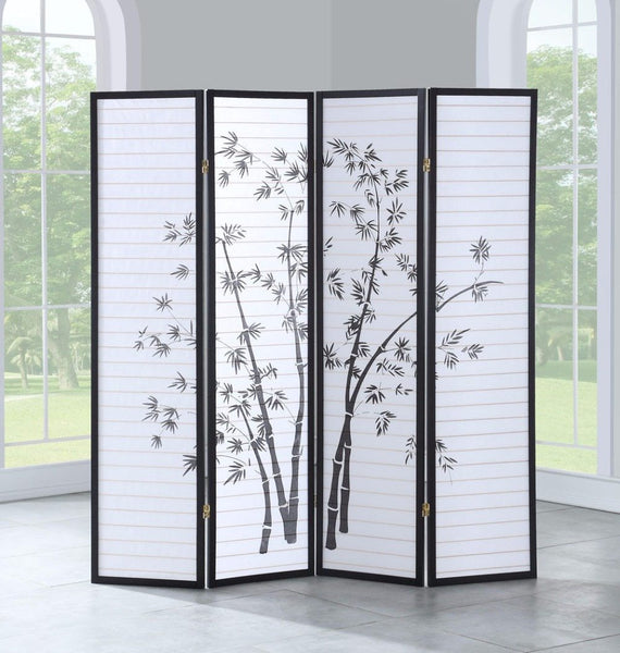 "Room divider 4 panel folding privacy shoji screen print bamboo 68.5""""wx70""""h home furniture"