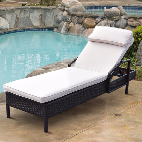 Lounge chair chaise outdoor wicker rattan couch patio furniture w/pillow