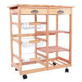 Kitchen & dining room cart 2-drawer removable storage rack with rolling wheels drop