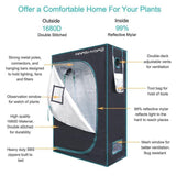 Hydroponic grow tent 1680d mars hydro 120*60*180cm indoor plant growing non toxic room box 100% reflective mylar