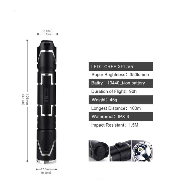 Tactical LED flashlight usb rechargeable light cree xpl v5 lamp waterproof ip68 torch hard light + battery+gift box (wuben i330)