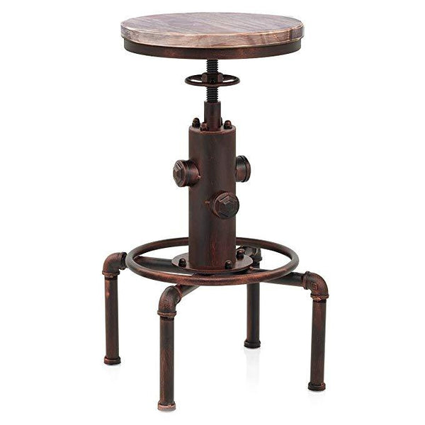 Bar chairs topower antique vintage industrial solid wood water pipe cafe coffe adjustable seat stool modern home