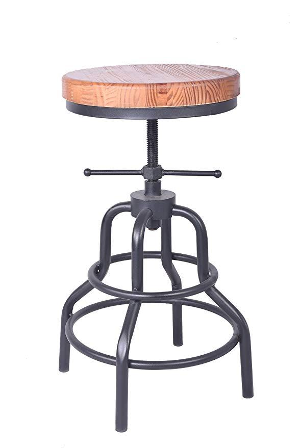 Bar stool industrial furniture seat swiveling wood seat metal frame footrest function height adjustable chair