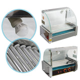 Commercial hotdog roller 18 dog 7 grill cooker machine with cover 1050w
