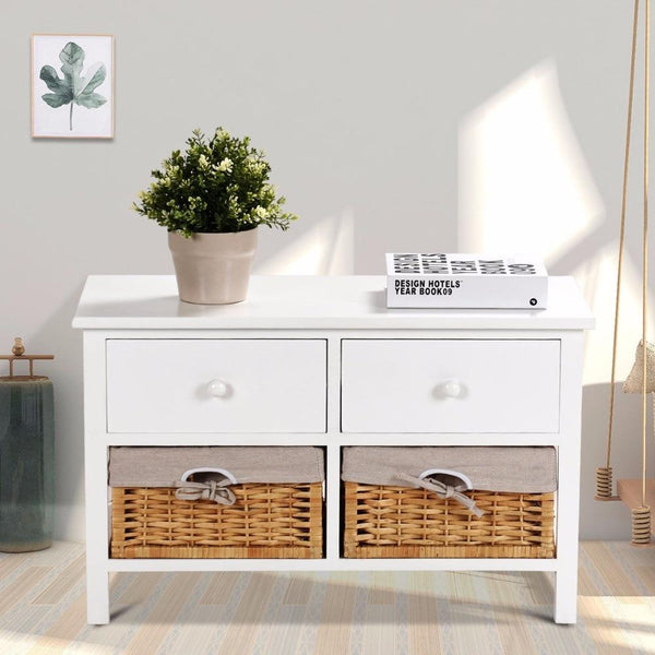 Storage cabinet wooden organizer table home furniture w/2 baskets drawers