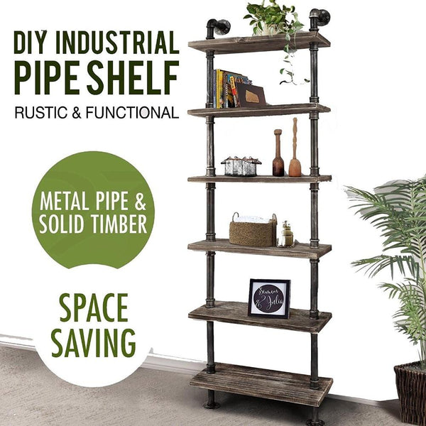 Rustic wall shelves 6 tier industrial ladder wood planks iron pipe standing book shelf storage rack