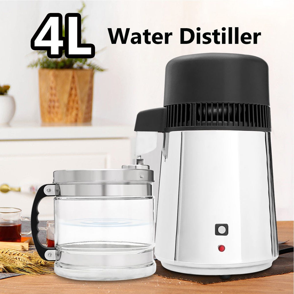 Water distiller 4l 750w stainless steel household pure home laboratory purifier container glass jar drink filter