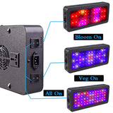LED grow light double switch 600w 900w 1200w full spectrum with veg/bloom modes for indoor greenhouse tent plants