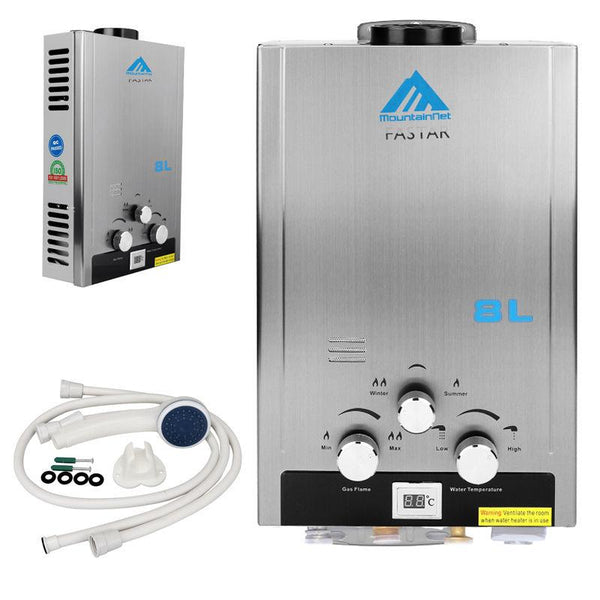 Energy-saving water heater with shower head 8l 2gpm natural gas tankless boiler stainless instant endless