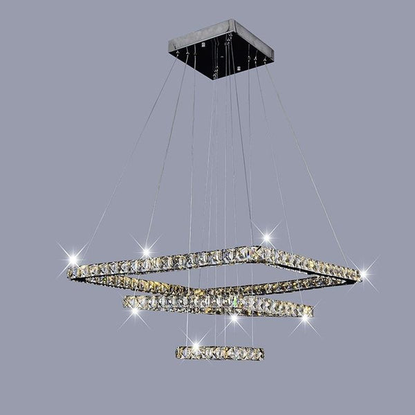 Square crystal ring modern LED crystal chandelier lights lamp cristal lustre chandeliers lighting living room pendant hanging