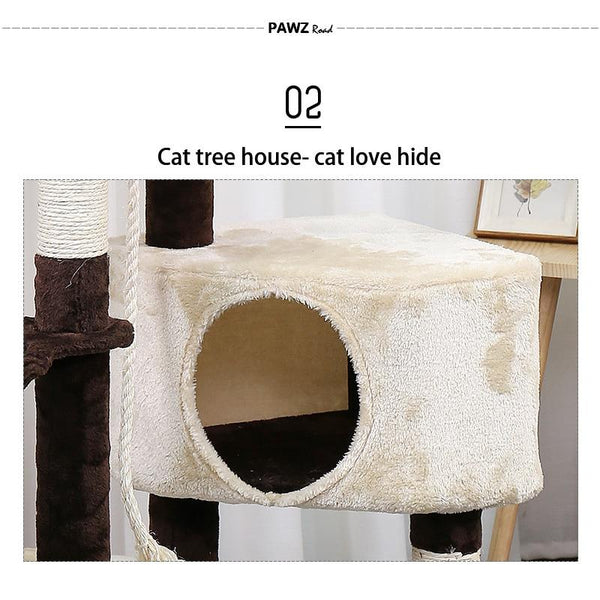 Cat tree house with hanging ball kitten furniture scratch solid wood climbing frame condos