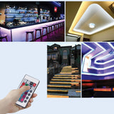 LED strip light 5 pack 5m smd 5050 rgb single color changing flexible 300 with 24 key ir remote control