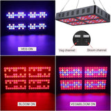 LED grow light reflector 1000w panel lamp full spectrum with veg/bloom 2 switches for indoor greenhouse grow tent veg bloom