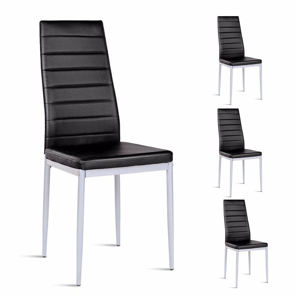Dining chairs set of 4 pvc side leather elegant design home furniture
