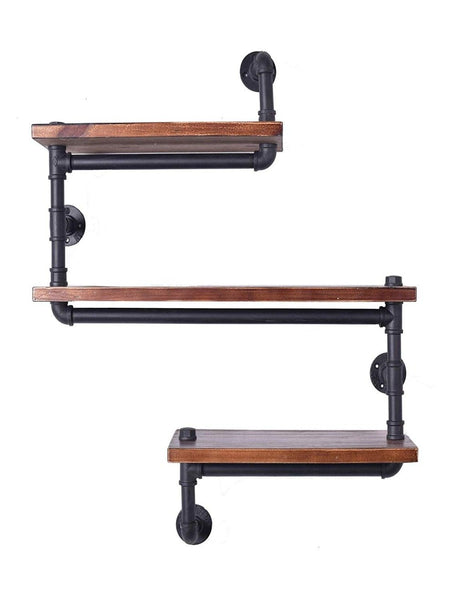 Floating wall shelves industrial rustic iron pipe shelf 3 tiers wooden board restaurant kitchen bathroom decorative