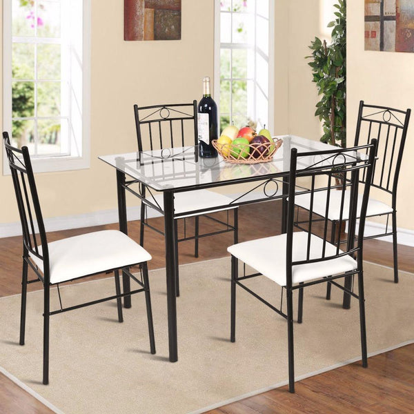Dining set glass metal 5 piece table 4 chairs kitchen breakfast furniture home