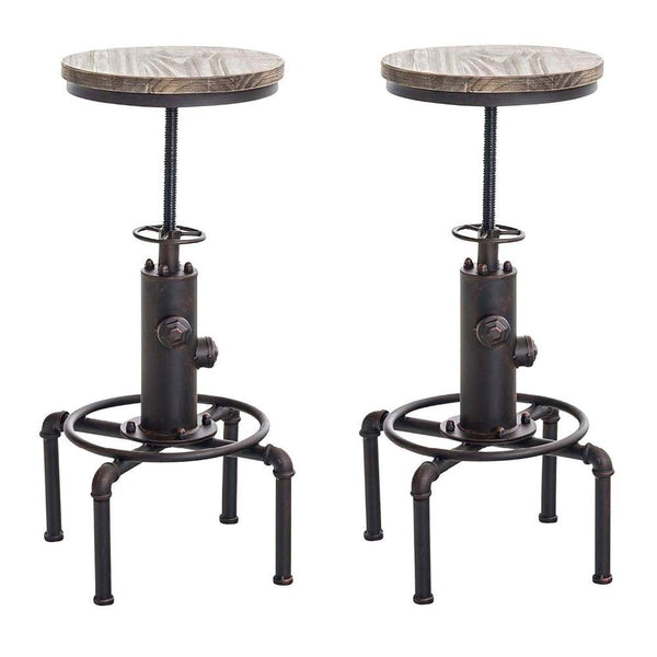 Bar stool set of 2 fire hydrant design swivel industrial height adjustable pinewood top kitchen dining chair with footrest
