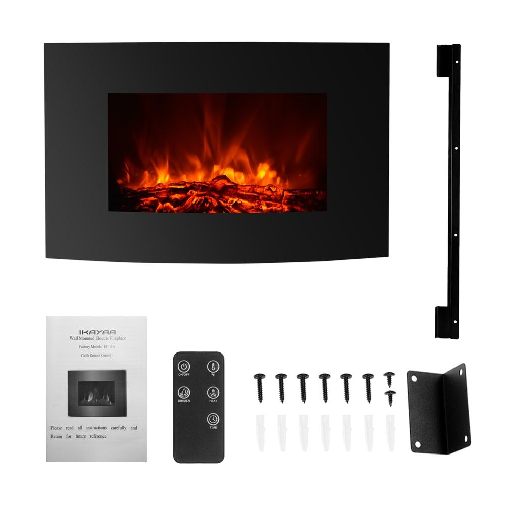 "Electric wall mount fireplace 1500w large 35""""*22"""" 3D flame heater with remote control heat setting fire place"