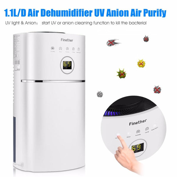 Air dehumidifier 2.4l capacity digital anion uv low energy purify for home wardrobe bathroom kitchen