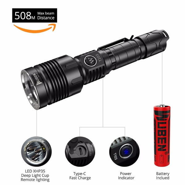 LED flashlight tactical waterproof rechargeable torch t103 pro cree xhp35 aluminum alloy patroling hiking etc.