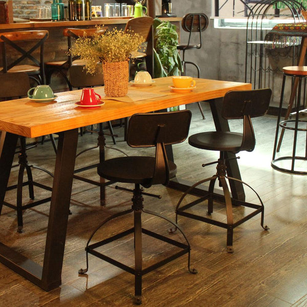 Bar stool industrial style metal ajustable height swivel kitchen dining chair w/ backrest coffee cafe home furniture