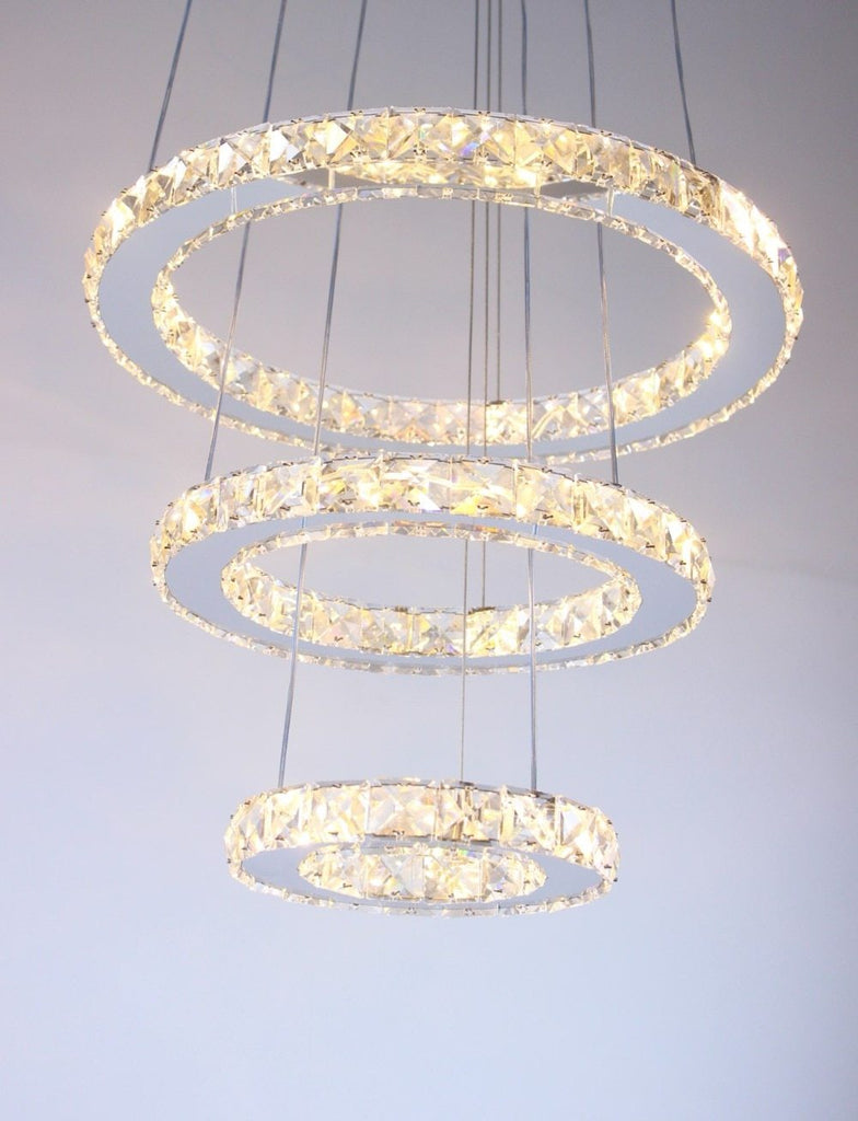 Lighting fixture mirror stainless steel crystal diamond 3 rings led pendant cristal dinning decorative hanging lamp
